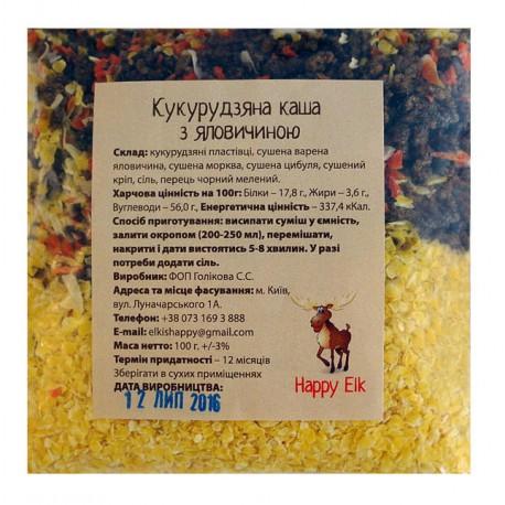Кукурузная каша с говядиной Happy Elk